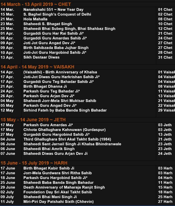 Sikh Gurpurab Calendar 2019-2020 ~ Samat 551 | SikhNet