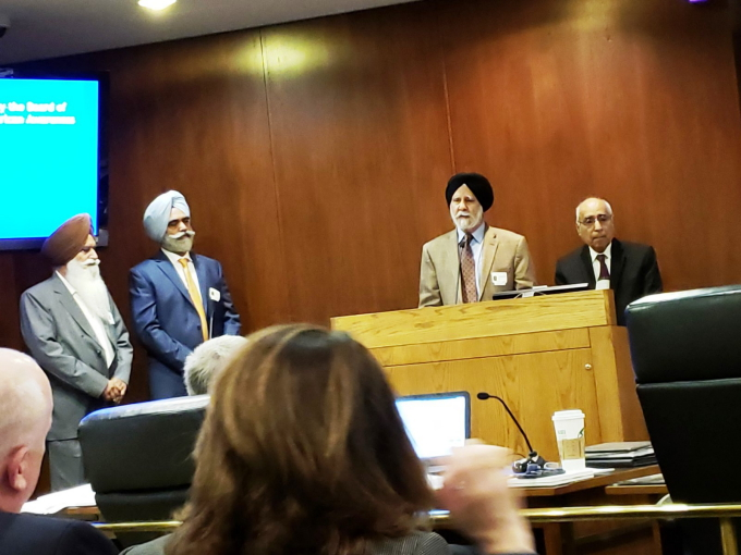 Dr Hardarshan Singh Valia speaking_ R to L_Frank Avila, Dr Hardarshan Valia, Dr Pardeep Singh Gill & Prof Kulwant Singh Hundal.jpg