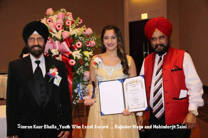 Simran Kaur Bhalla_Youth Who Excel Award ... Rajinder Mago and Mohinderjit Saini.jpg