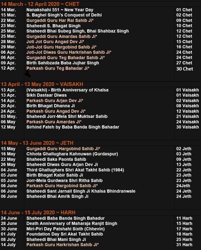 Nanakshahi Calendar 2021 Sikh Calendar 2020 21 ~ Samat 552 | SikhNet