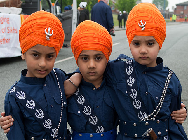 ... Sikh boys in traditional dress and turbans for the Sikh new year