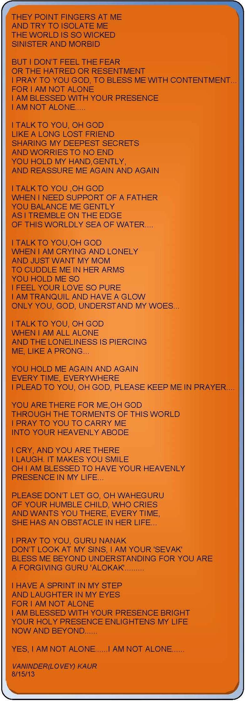 i am not alone poem by vaninder kaur sikhnet