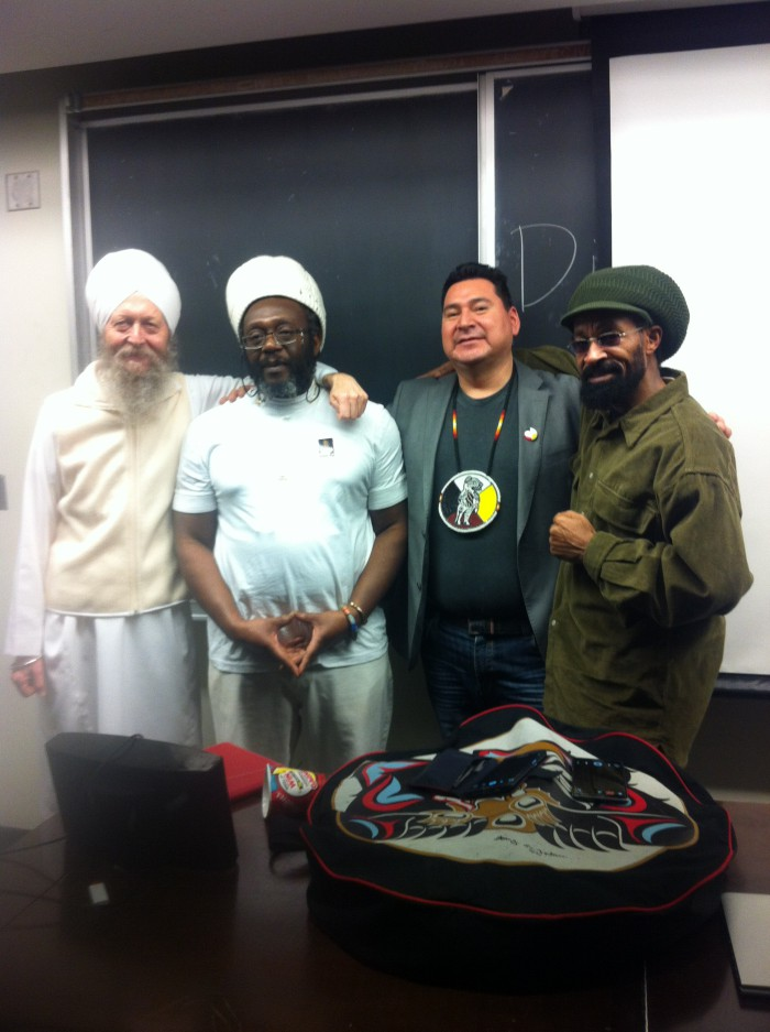Divine Hair event photo - left to right - the author - Ras Jayant - Bear Standing Tall - Ras Sunray (109K)