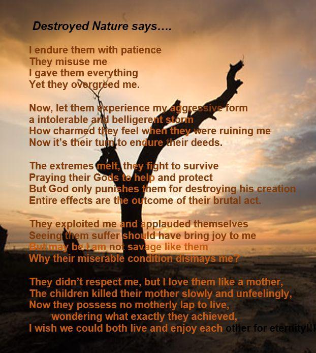 Destroyed Nature Says A Poem By Gurdeep Singh Sikhnet