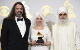 Adam Berry, Gurujas Khalsa and Hari Jiwan Singh Khalsa of the musical group White Sun after winning the award in Los Angeles. (AP File Photo)