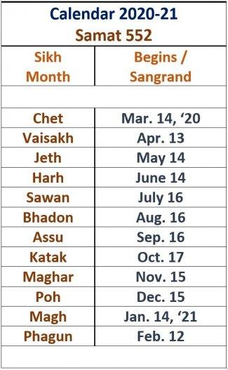 Sikh Calendar 2020 21 ~ Samat 552 | SikhNet