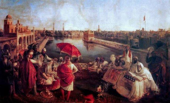 Ranjit_Singh_at_Harmandir_Sahib_-_August_Schoefft_-_Vienna_1850_-_Princess_Bamba_Collection_-_Lahore_Fort.jpg